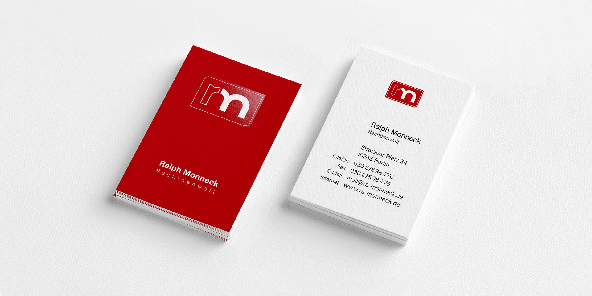 Visitenkarten Rechtsanwalt Monneck
