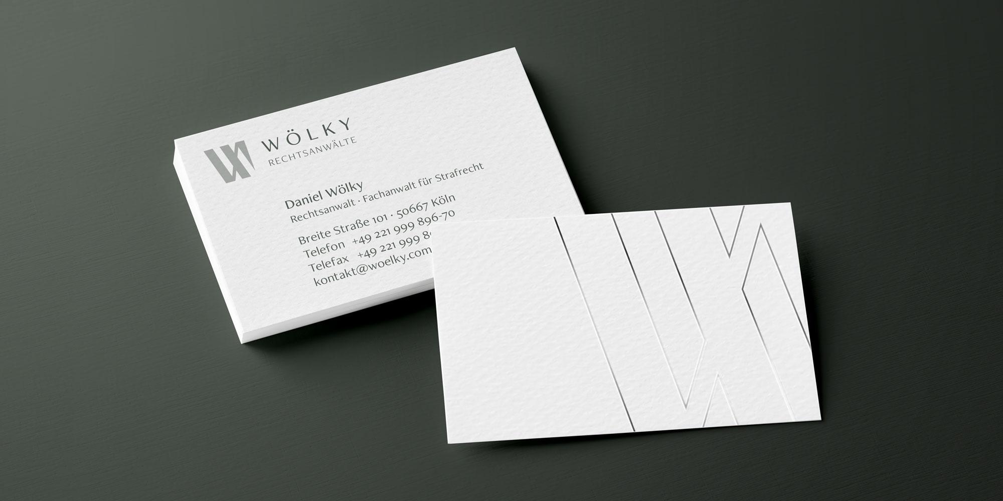 Visitenkarten der Rechtsanwaltskanzlei Woelky