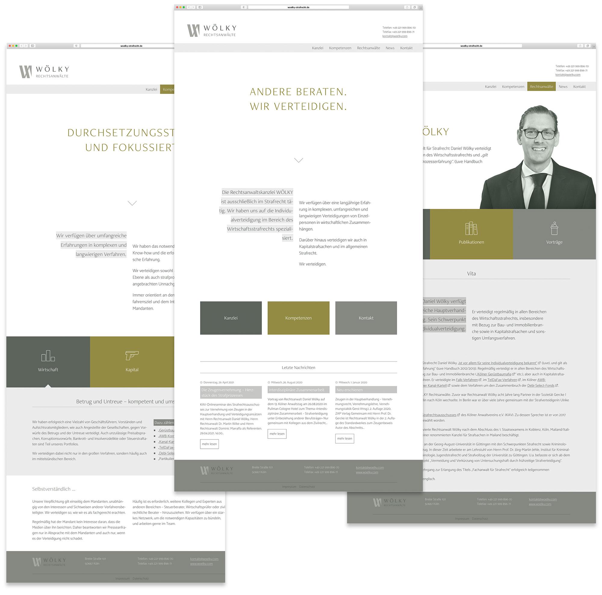 Webseitenansicht Rechtsanwälte Wölky